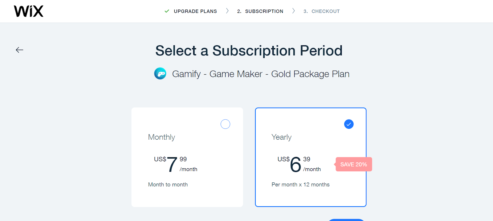 Subscription Period - Wix