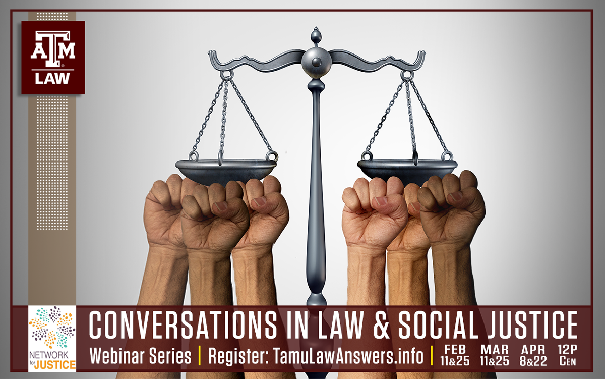 law and social justice webinar series flyer