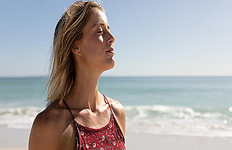 paradoxical breathing young caucasian woman breathing marine air