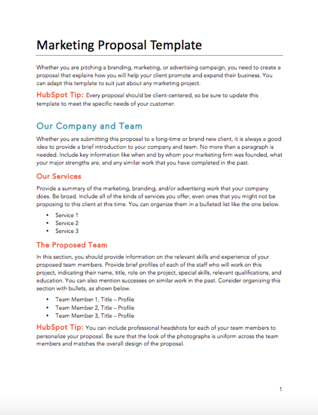 Free Proposals Estimates Quotes Pdf Word Template Hubspot