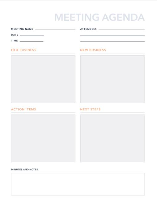 Free Meeting Agenda Template For Pdf Excel Hubspot