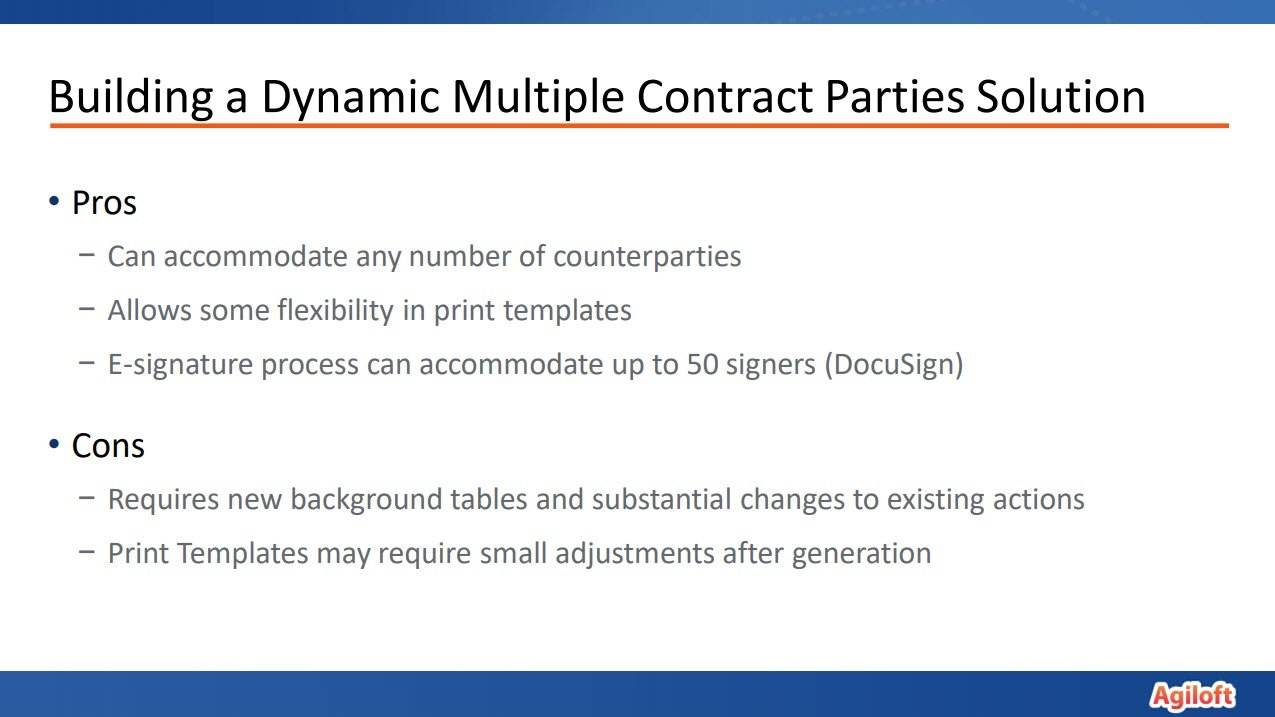 Building a dynamic multiple contract parties solution training slide
