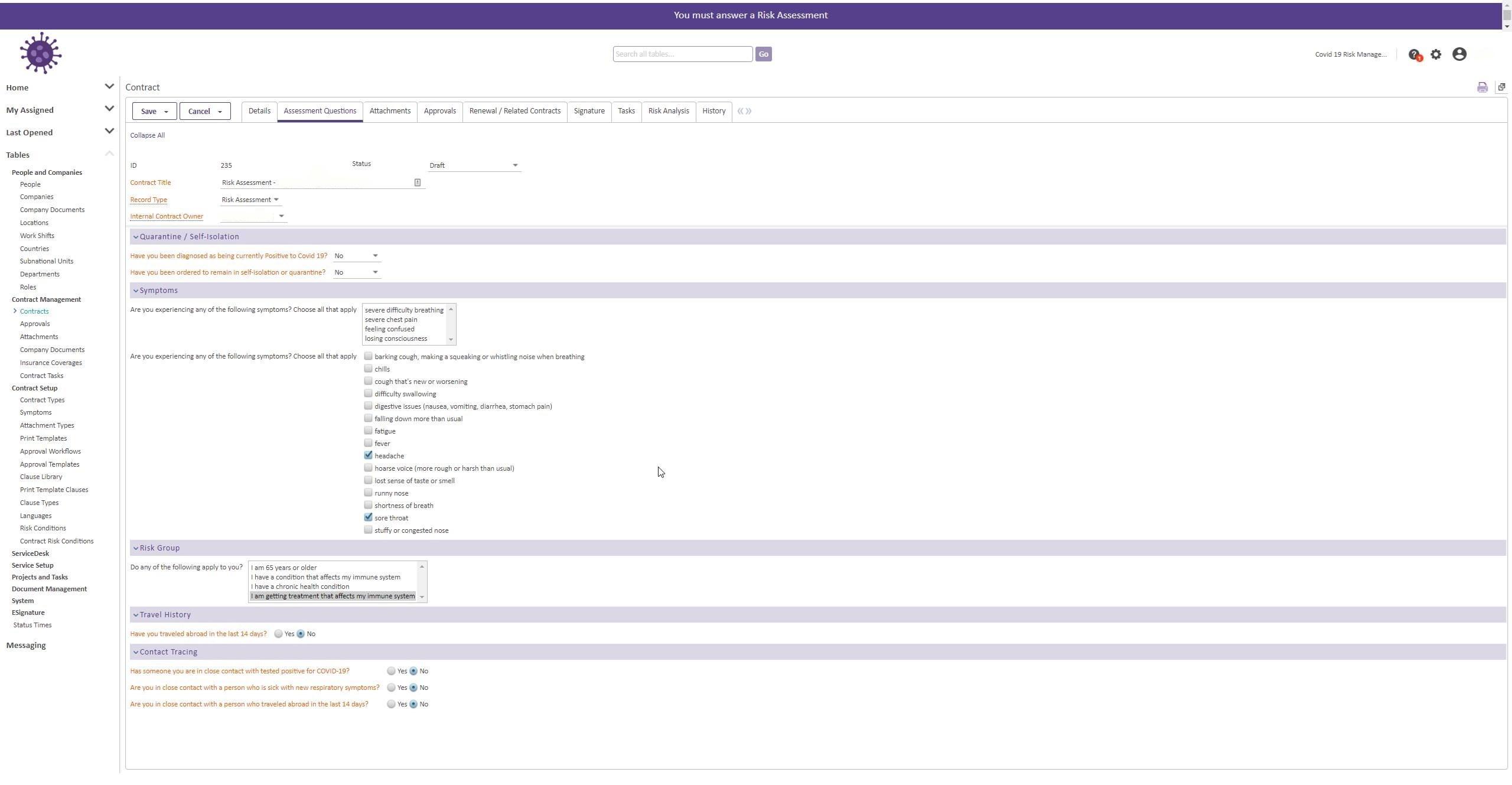 Agiloft COVID-19 Risk Assessment functionality