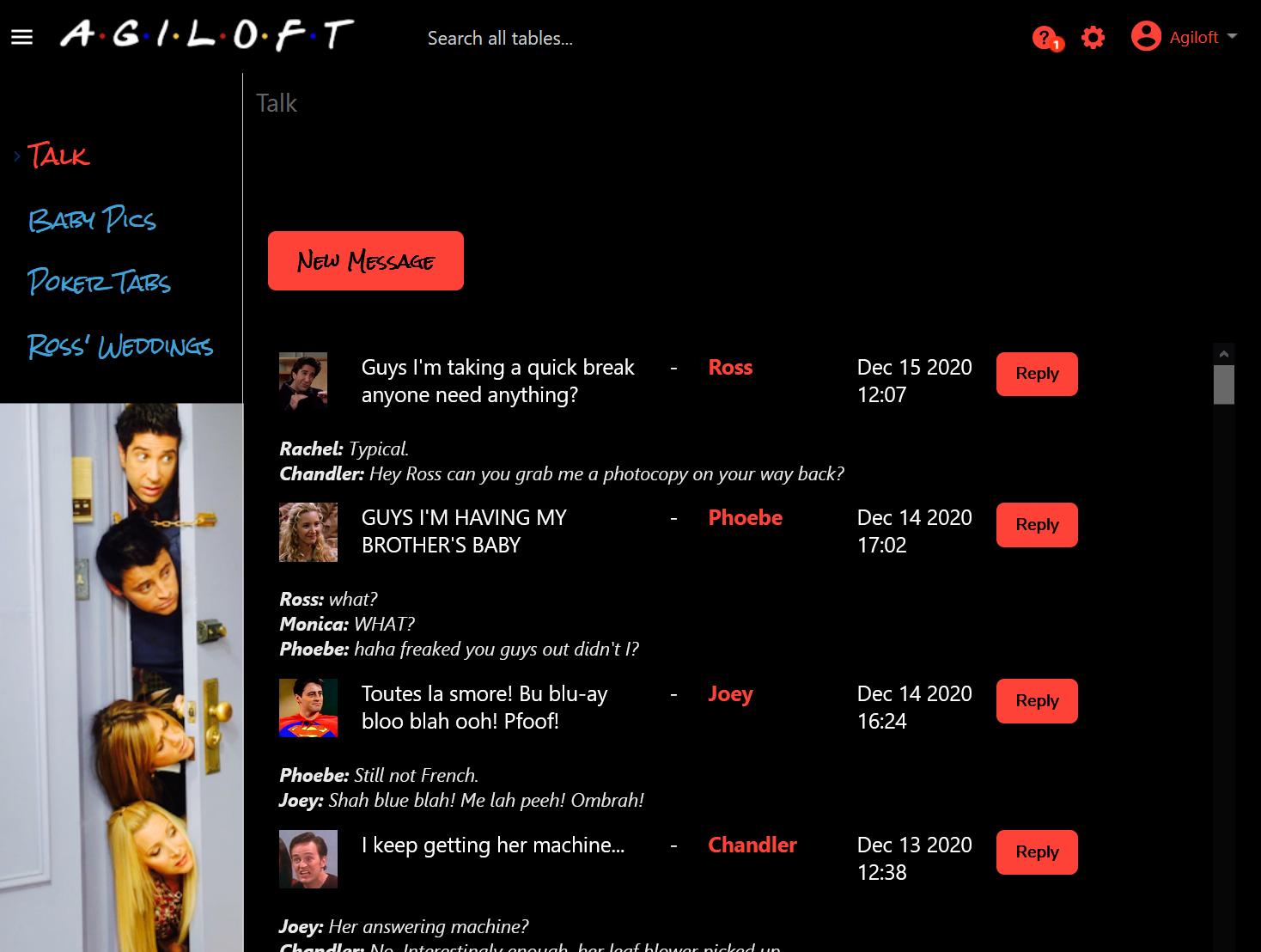 Agiloft Friends themed look and feel scheme