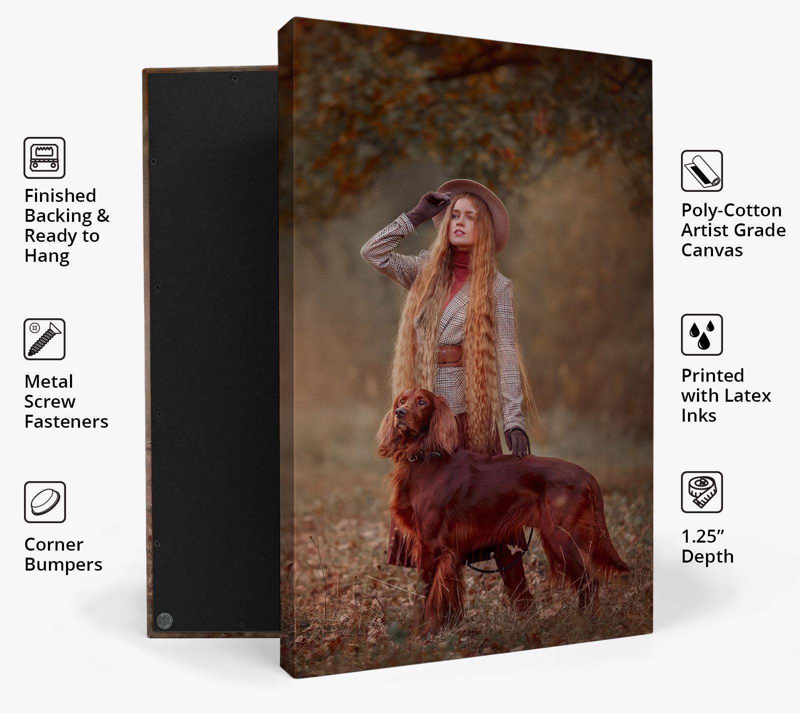 """Canvas Wrap PRO details: Artist Grade Canvas   Patented Design   1.25"""" Depth   Size Range 5x7"""