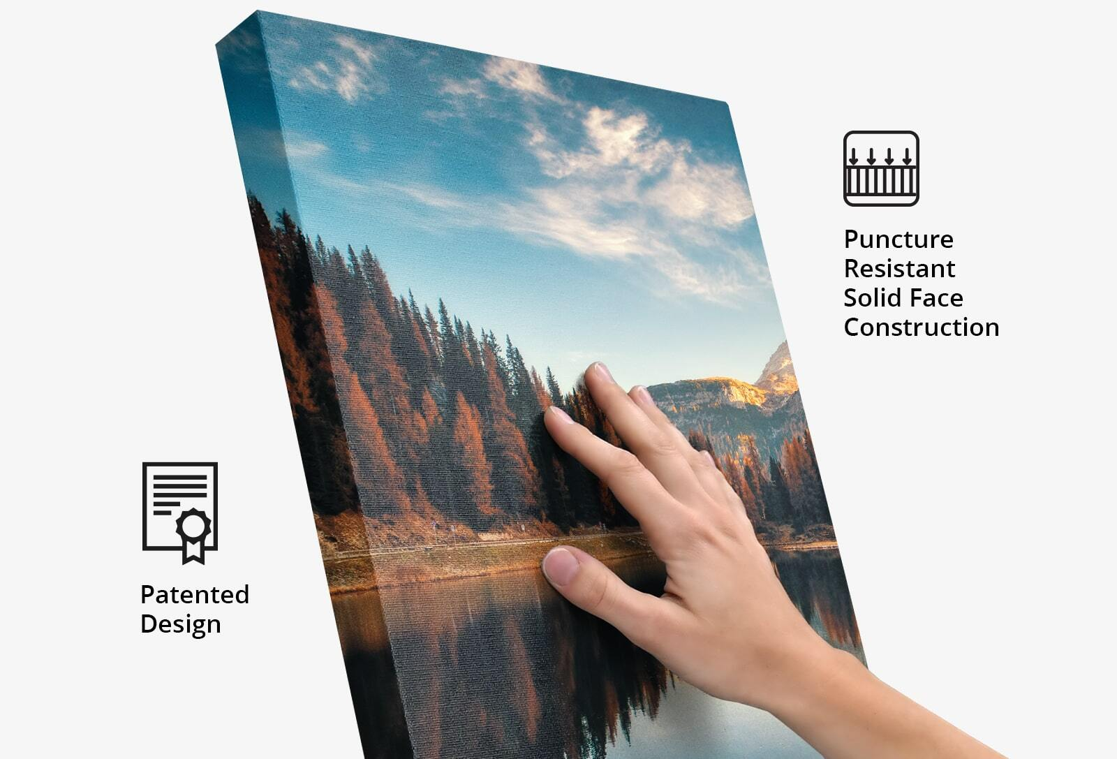 Innovative Product Design: Puncture resistant sold face construction. Solid Face Canvas Print