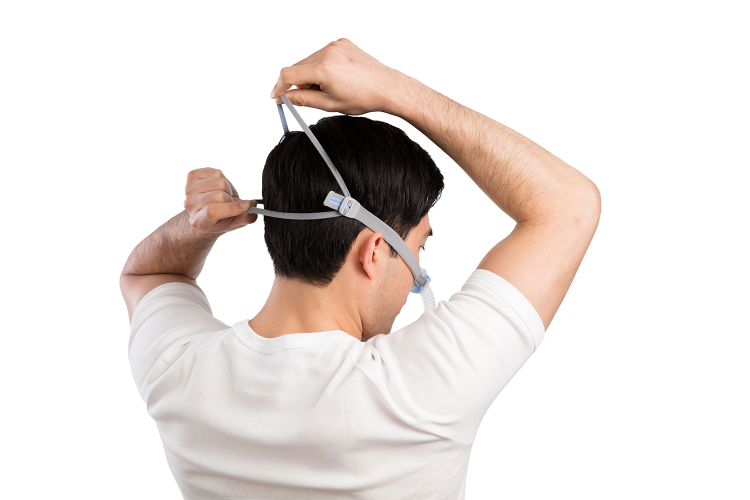 Man Trying on AirFit N30 for AirMini Mask