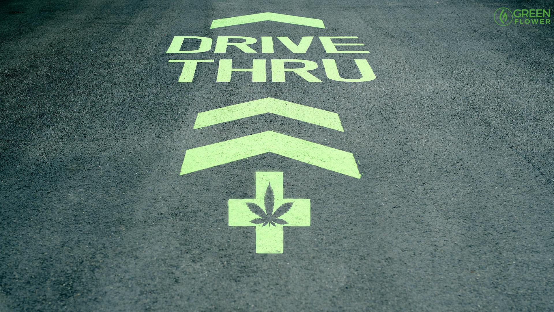 Drive-thru-cannabis-dispensary pavement paint