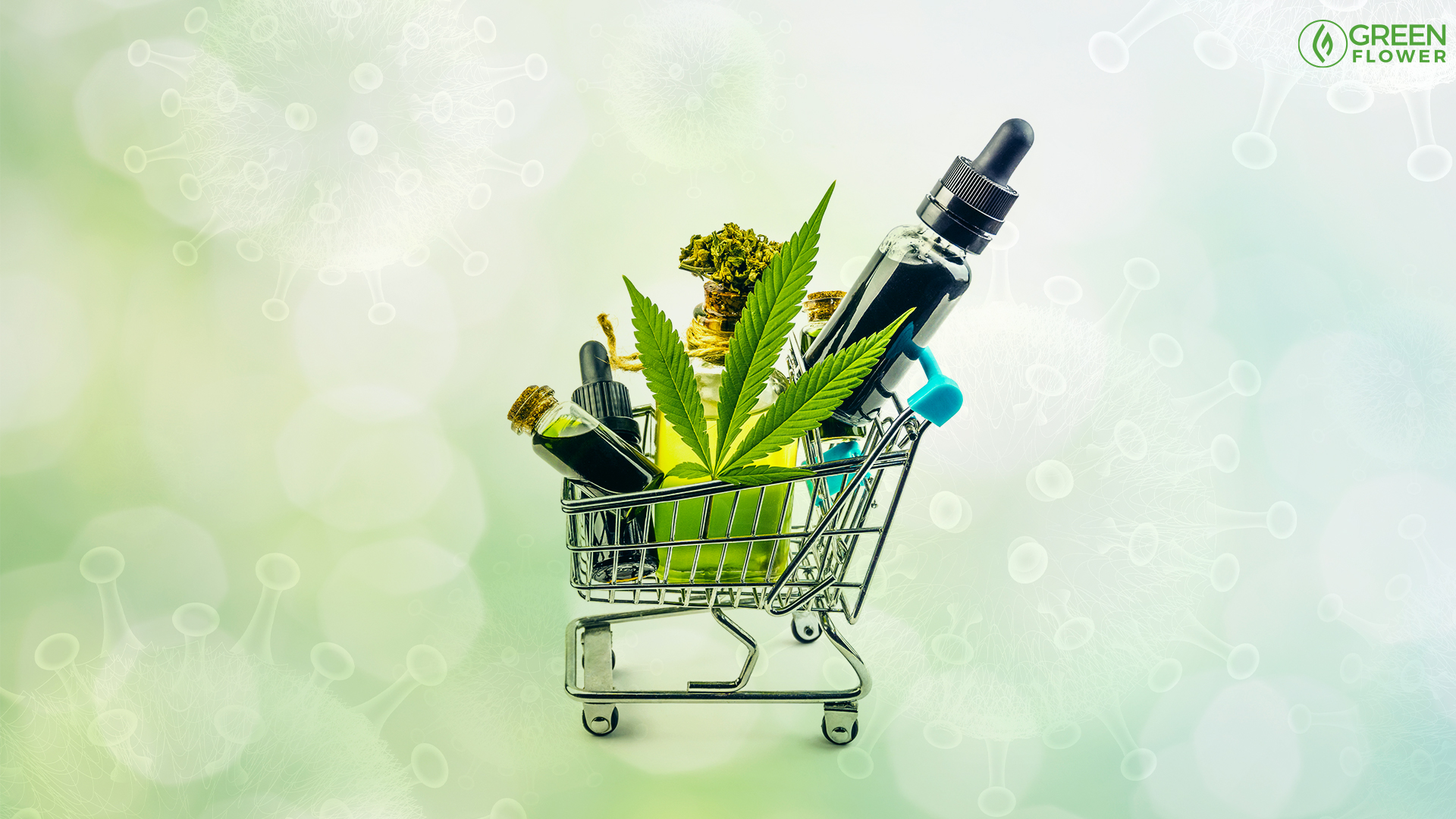 a variety of cannabis products in a shopping cart