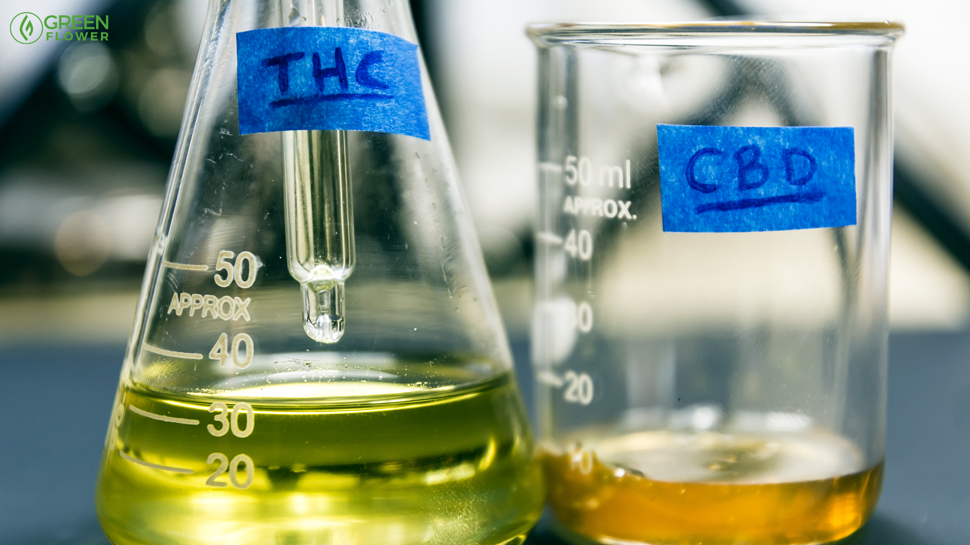 liquid thc and cbd in two scientific containers